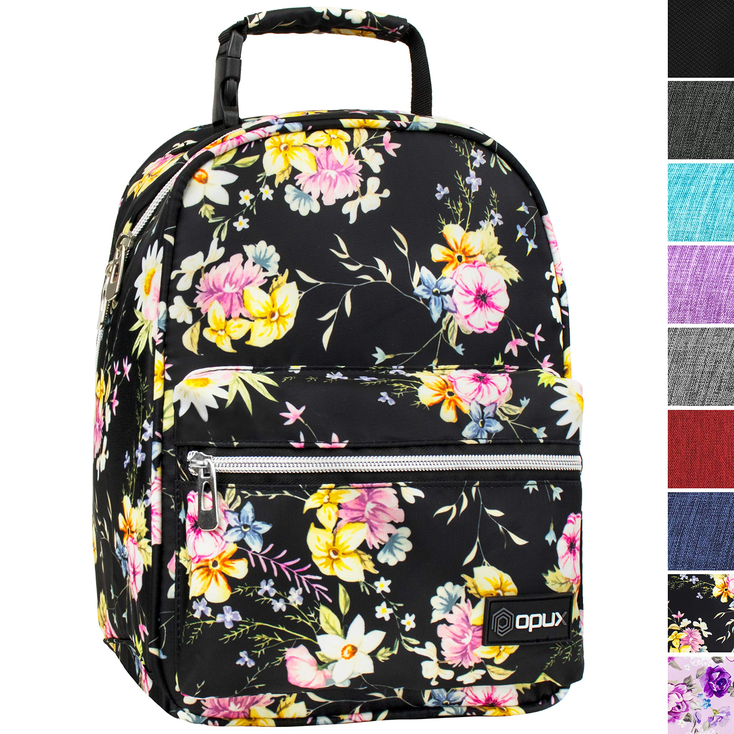 OPUX Premium Insulated Lunch Box for Girls | Durable Leakproof School Lunch Bag with Handle Clip, Mesh Pocket | Reusable Work Lunch Pail Cooler for Adult, Men, Women | Fits 14 Soda Cans (Black Floral)