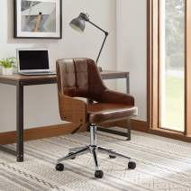 Art Leon Mid Back Faux Leather Swivel Office Chair with Arms and Walnut Bentwood, Modern Open Backrest Adjustable Height Computer Desk Chair, Cognac