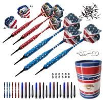 SHOT TAKER CO. EST. 2017 Soft Tip Darts Set - USA American Flag & Patriotic Bald Eagle Inspired Colors - Professional Darts with Aluminum, Plastic Shafts, O-Rings, Flights, Dart Tool, Sharpener, Case