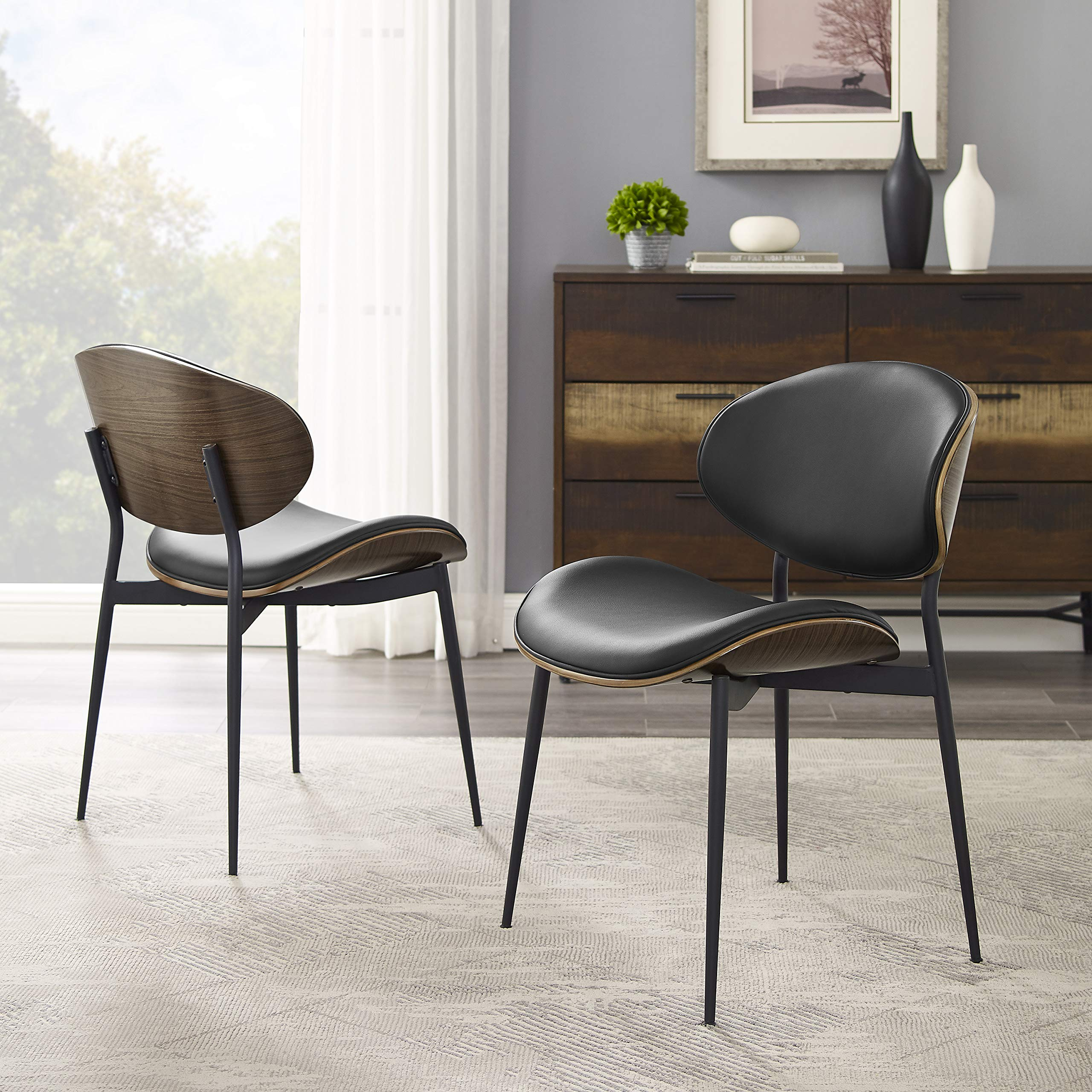 Image of: Art Leon Dining Chairs Set Of 2 Mid Century Modern Retro Black Faux Leather Upholstered Dining Chairs With Metal Legs Bentwood Side Chairs For Kitchen Dining Room Living Room Bedroom Desk