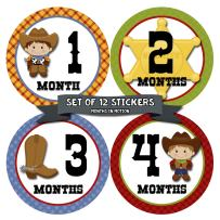 Baby Monthly Stickers | Monthly Milestone Stickers | Baby Month Stickers for Boy | Cowboy Western | Style 340