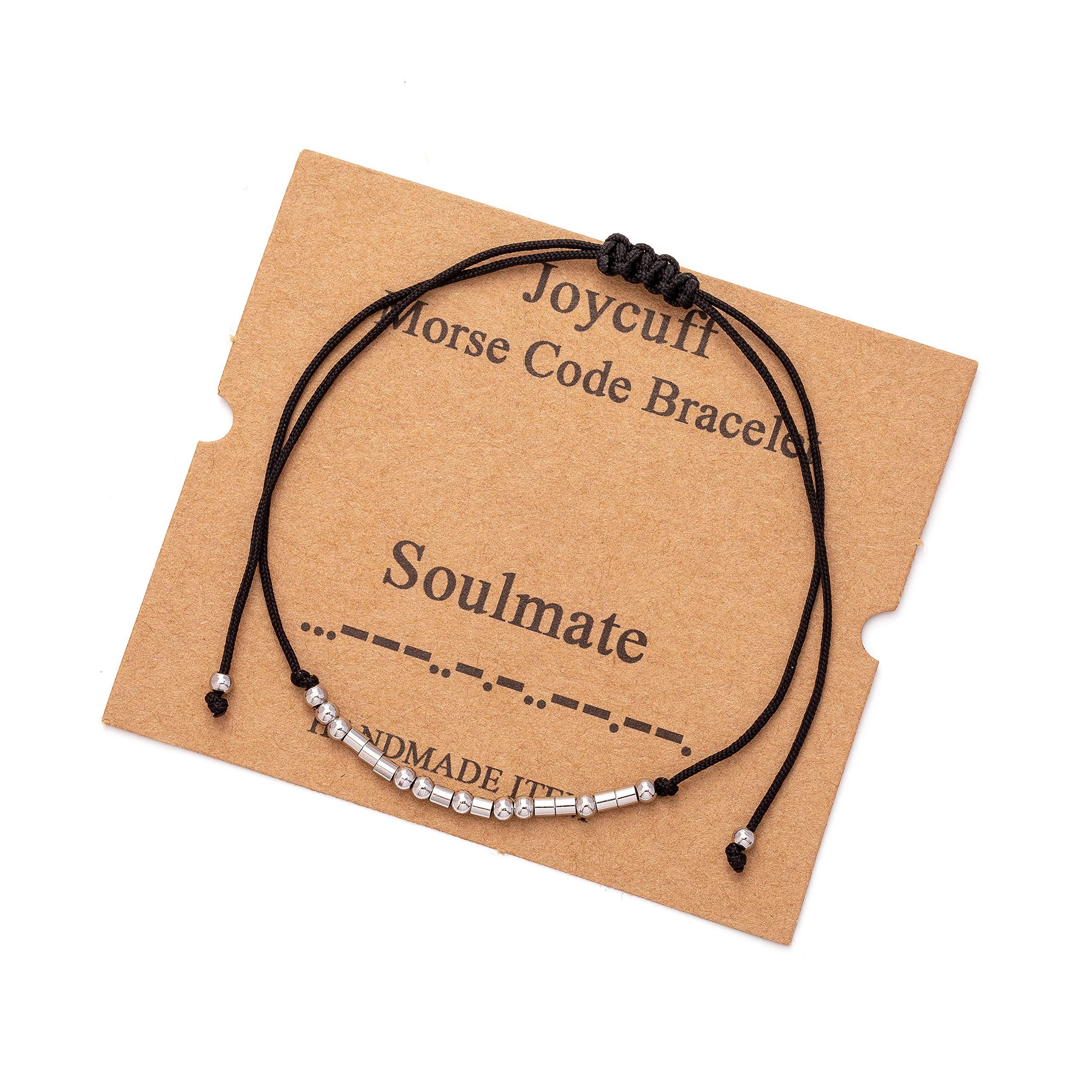 Joycuff Morse Code Bracelets for Women Mom Daughter Sister Inspirational Encouragement Dainty Bangle Birthday Gifts Handmade Jewelry for Her Teen Girls Friend Adjustable Wrap Bracelet