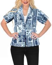 LA LEELA Womens Plus Size Hawaiian Shirt Button Down Aloha Party Shirt Printed B