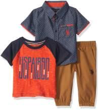 U.S. Polo Assn. Baby Boy's Short Sleeve Printed Woven Shirt, T-Shirt, and Jogger Set Pants