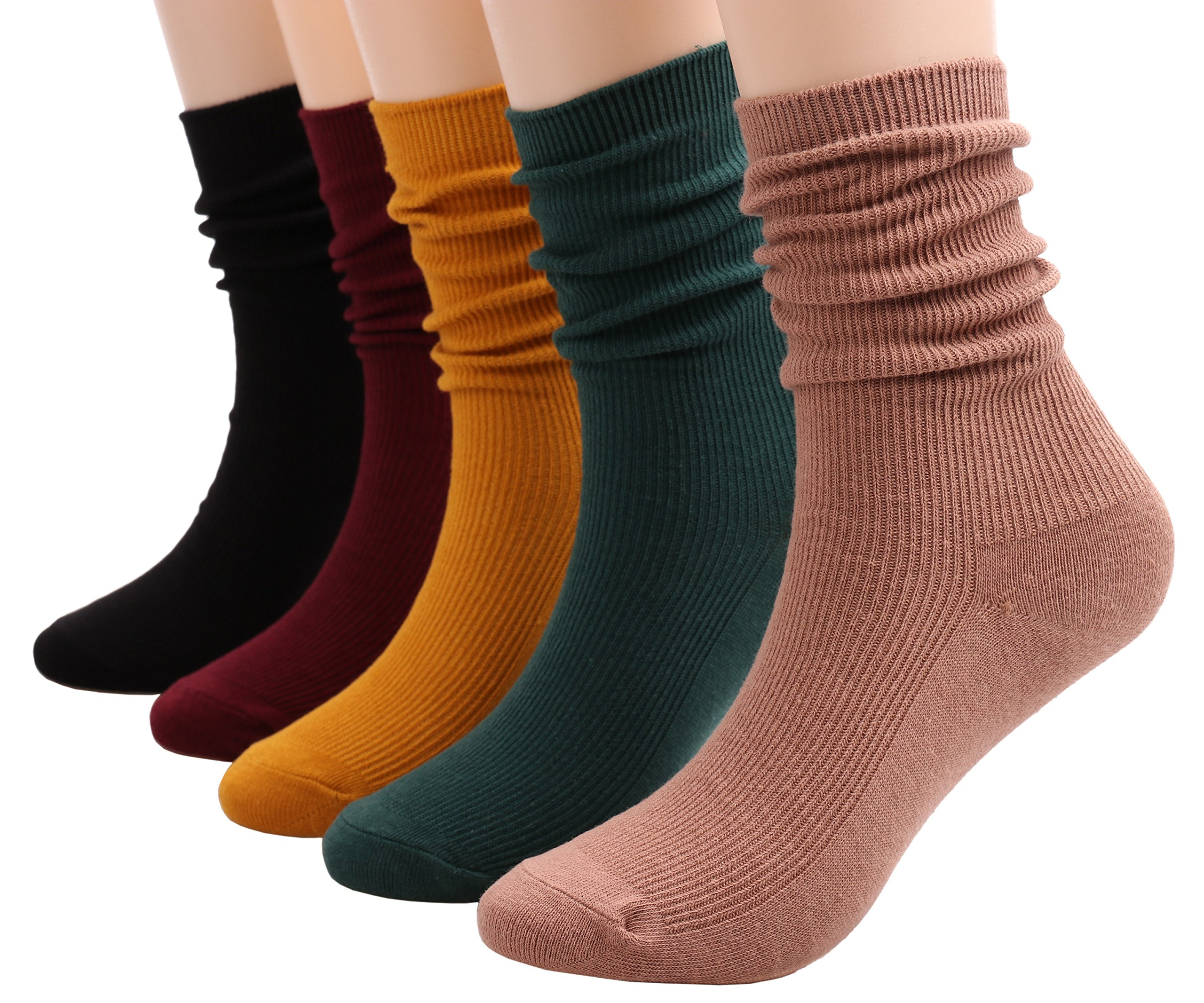 5 Pairs Womens Crew Socks All Season Soft Slouch Knit Cotton Socks Solid Color,5-10 W81