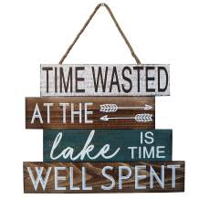"""Barnyard Designs Time Wasted at The Lake is Time Well Spent Wooden Sign Rustic Vintage Primitive Lake House Home Decor Sign 15"""" x 12"""""""