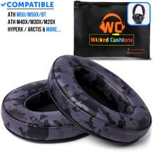 Black Camouflage ATH M50X Earpads Made by Wicked Cushions - Compatible with Audio Technica M40X / M30X / M20X / M50XBT / HyperX Cloud & Cloud 2 / SteelSeries Arctis 3/5 / 7 & Arctis Pro Wireless