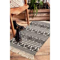 Seavish Cotton Printed Rug, 2'W x 3'L Decorative Black and Cream Tribal Kilim Small Area Rug Hand Woven Rug for Entryway Thin Throw Rugs for Laundry Room Living Room Dorm