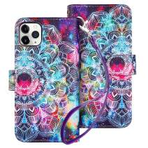 HianDier Case for iPhone 11 Pro Max Wallet Cases with Card Holder 9 Slots Detachable PU Leather Flip Cover Shockproof Magnetic Clasp Lanyard Dual Layer Case for iPhone 11 Pro Max 6.5 Inches, Mandala
