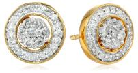Jewelili 18K Yellow Gold over Sterling Silver Diamond Cluster Jacket Stud Earrings (1/2 cttw)