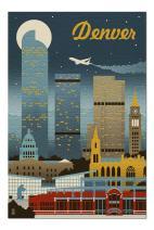 Denver, Colorado - Retro Skyline (Premium 1000 Piece Jigsaw Puzzle for Adults, 20x30, Made in USA!)