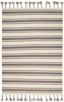"Nourison Solano Striped Wool Ivory Grey Area Rug 5'X7'6"""