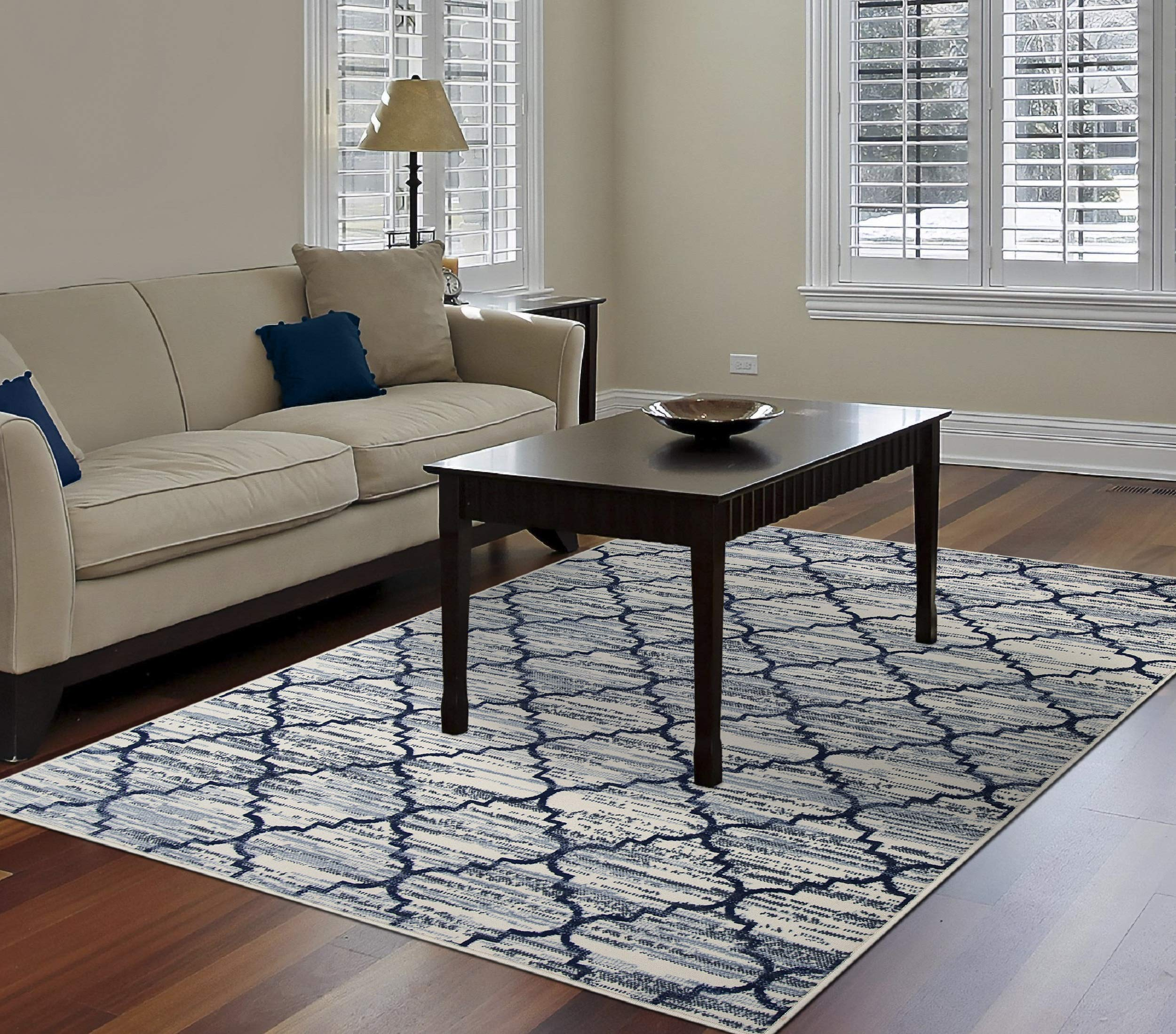 PRIYATE Colorado Collection Moroccan Lattice Area Rug - Polypropylene, Non Slippery, Water Repellent for Indoor, Floor Carpets, Foyer, Living, Dining and Bedroom (Ivory, Size : 240 X 305)