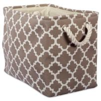 DII Printed Polyester Storage Bin  -Medium Rectangle, Brown Lattice