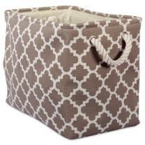 DII Printed Polyester Storage Bin -Medium Rectangle, Brown Lattice