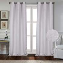 """Dainty Home Day to Night Times Square Woven Basketweave Thermal Blackout Noise Reducing 2 Piece Grommet Curtain Panel Pair, 38"""" x 84"""" Each (76"""" x 84"""" Total), Silver Grey"""
