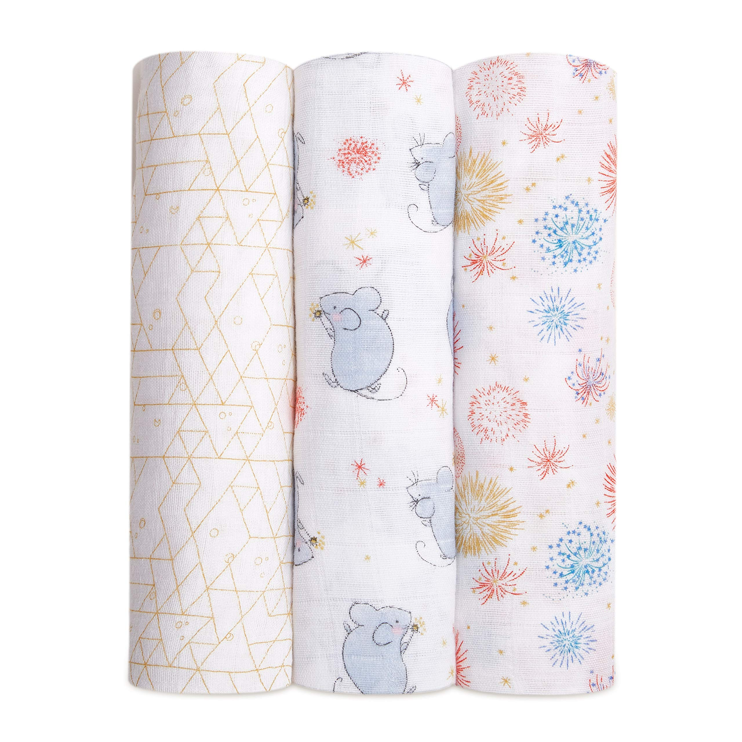 aden + anais Swaddle Blanket, Boutique Muslin Blankets for Girls & Boys, Baby Receiving Swaddles, Ideal Newborn & Infant Swaddling Set, 3 Pack, Year of The Mouse