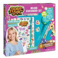 Make It Real - Animal Jam Stationery Set. Animal Jam Notebook and Sticker Set for Kids. Includes Animal Jam Notebook, Stickers, Pom Pom Pens, Ruler, and Erasers