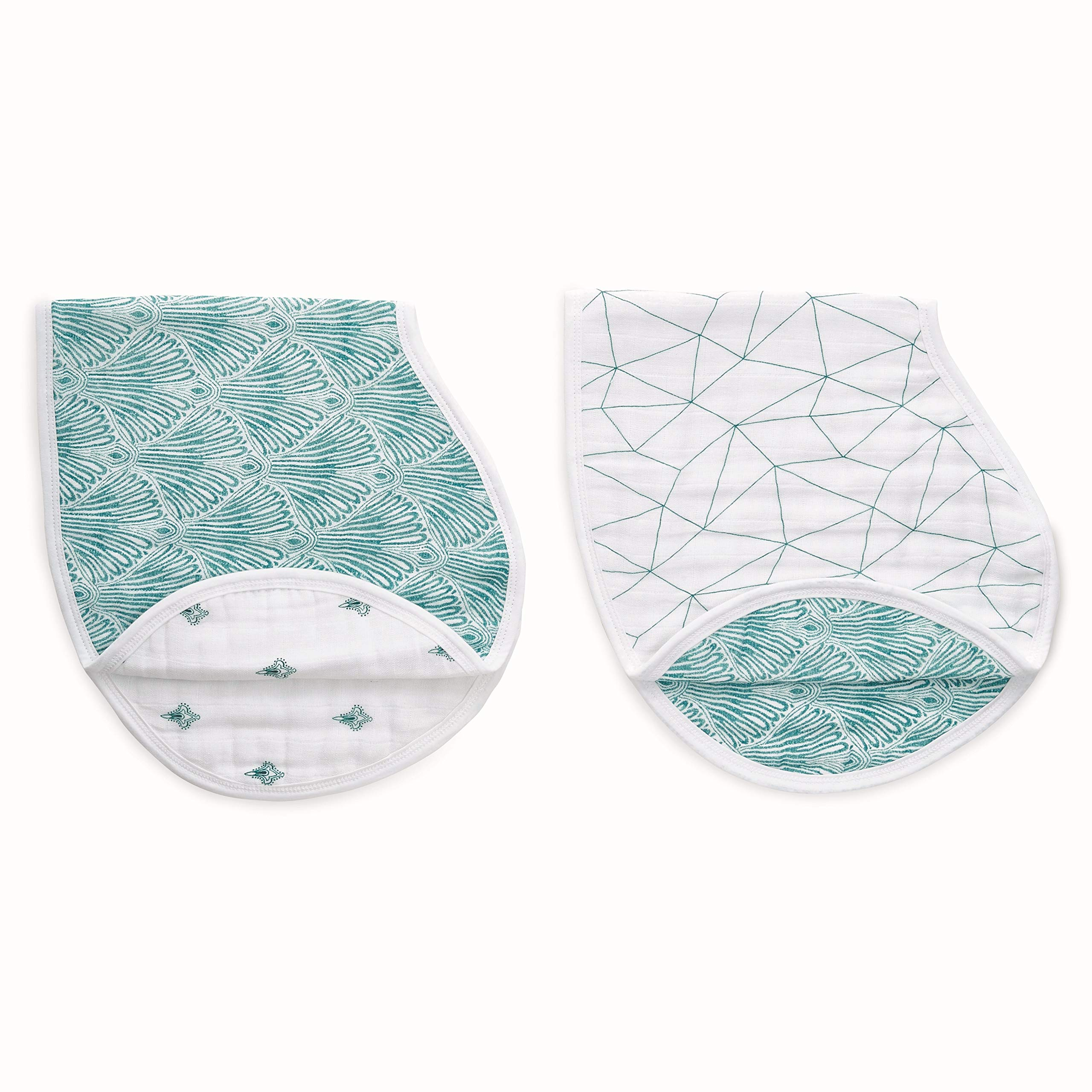 aden + anais Burpy Baby Bib, 100% Cotton Muslin, 4 Layer Multi Use Burping Cloth, Super Soft & Absorbent Burp Rag for Infants, Newborns and Toddlers, 2 Pack, Paisley - Teal
