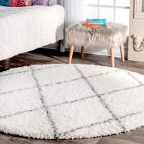 """nuLOOM Trellis Cozy Soft & Plush Shag Rug, 5' 3"""" Round, White"""