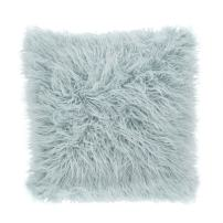 Mongolian Faux Fur Poly Filled Throw Pillow, Ice Blue, 18""