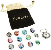 Souarts Interchangeable Eyeglass Holding Snaps Brooch with 12pcs Dreamcatcher Glass Snaps Button 18mm Snap
