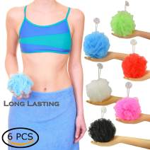 Star Brand Long Lasting Bath Sponge 6 Counts   60g Heavy Bath Mesh Pouf with Suction Cup   Big Shower Sponge and Loofahs   Holding Up Bathing Exfoliator and Body Scrubber (60g x 6 Pieces, 6 Colors)