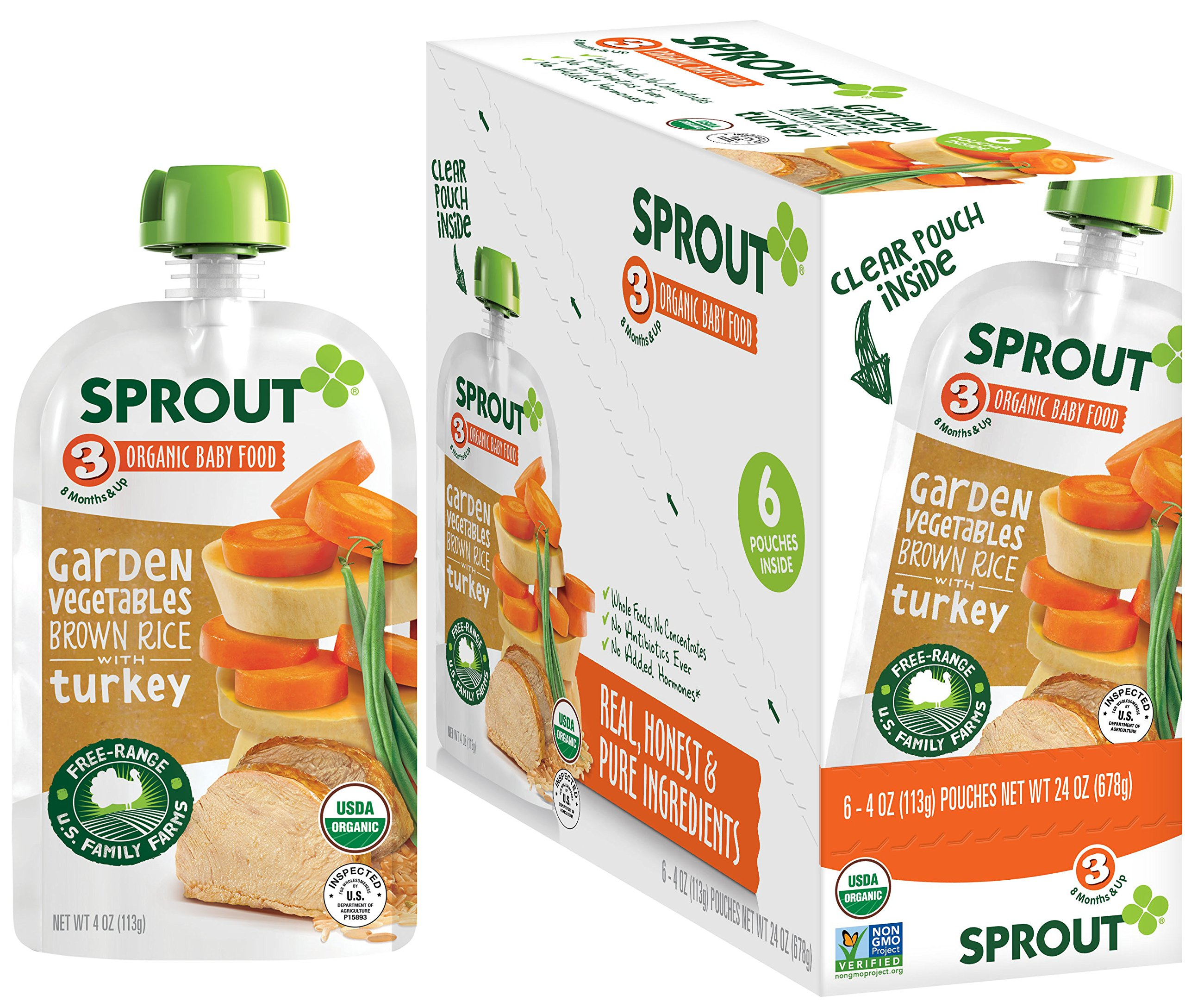 Sprout Organic Stage 3 Baby Food Pouches, Garden Vegetables Brown Rice w/ Turkey, 4 Ounce (Pack of 6)