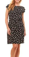 Womens Summer Dress - Floral Solid Casual Midi Dresses for Women with Pockets, Black-Floral-L