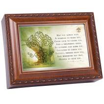 Cottage Garden Irish Prayer Always Have Shelter Woodgrain Rope Trim Jewelry Music Box Plays Irish Lullaby