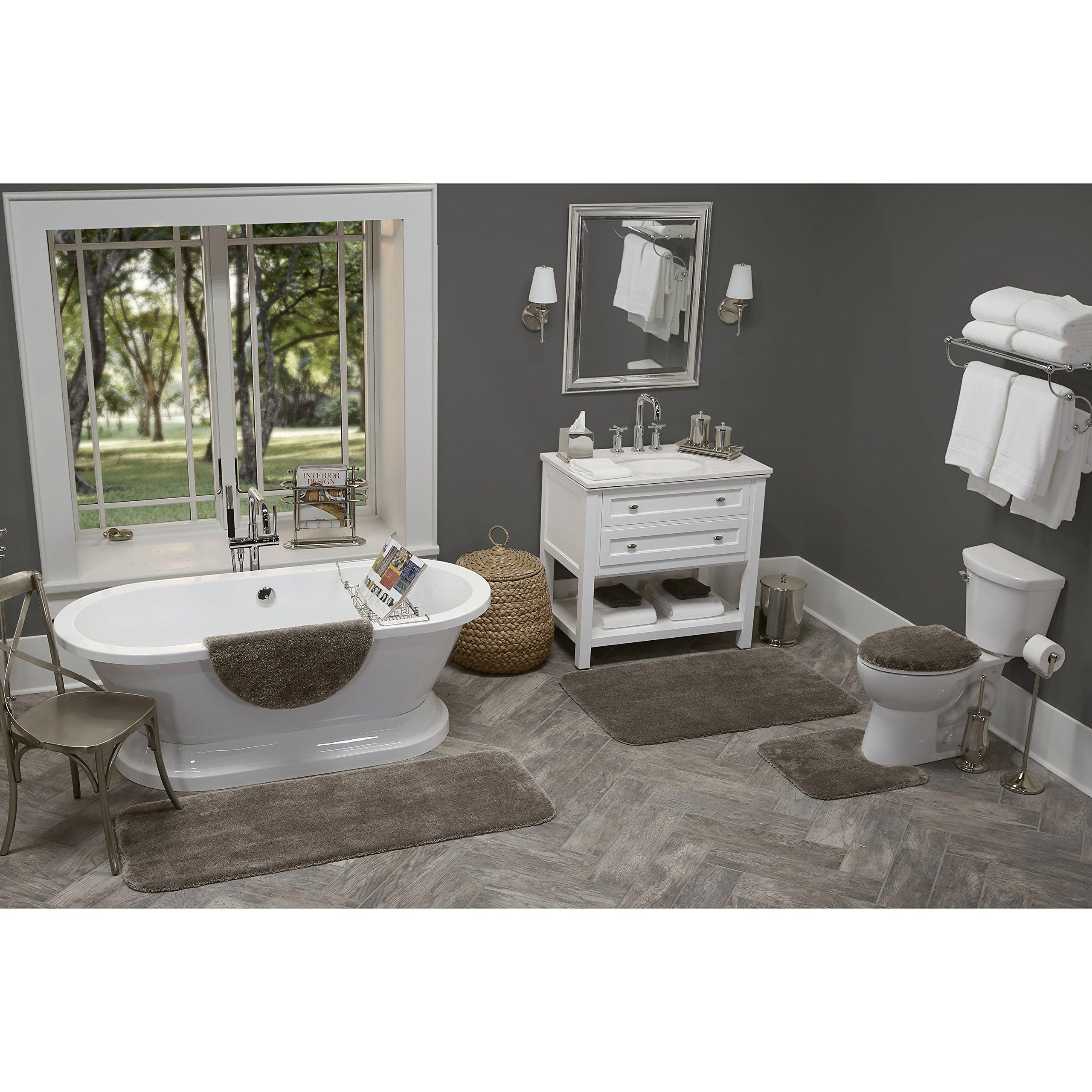 "Maples Rugs Cloud Bath 20"" x 21.5"" Contour Non Slip Toilet Rug [Made in USA] Machine Washable Soft Bath Mat, Mocha Latte"