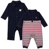 COTTON FAIRY Baby Boys' 2-Pack Rompers One-Piece Coverall