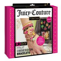 Make It Real - Juicy Couture Fruit Obsessions Bracelets. DIY Bracelet Making Kit for Girls. Design and Create Girls Bracelets with Juicy Couture Charms, Beads, Gold Bangle, Nylon and Cotton Threads
