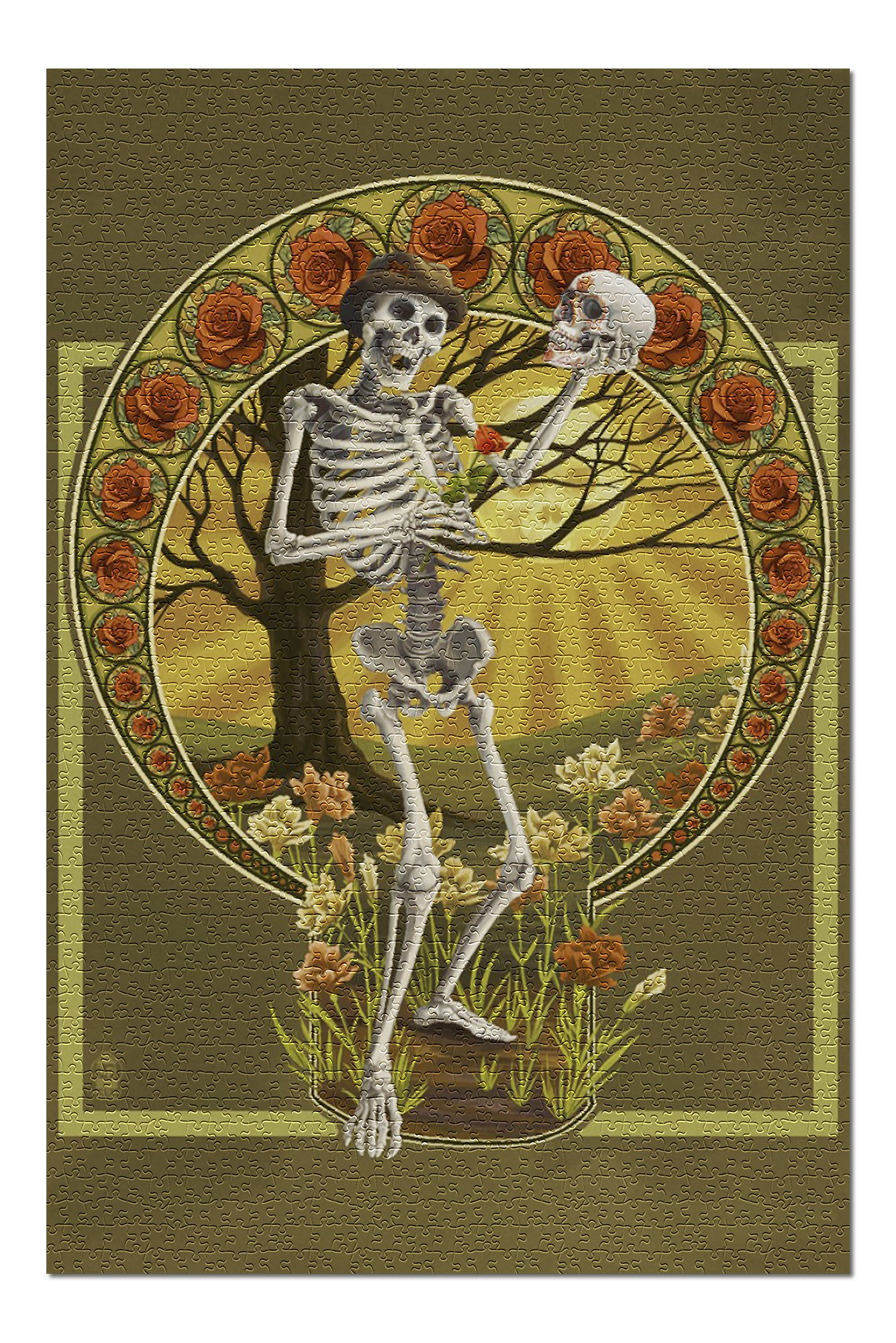 Day of The Dead - Skeleton Holding Sugar Skull (Premium 1000 Piece Jigsaw Puzzle for Adults, 20x30, Made in USA!)