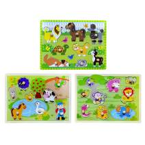 Toddler Puzzles Wooden Peg Puzzle 3 Sets - Farm, Pets and Jungle Animal Illustrations Learning Educational Toys for Toddlers Preschool 2 3 4 5 Years Old