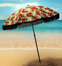 Beach Umbrella For Sand - Best Beach Umbrella Windproof & Portable Sport Umbrella With Fringe, Comes With Denim Beach Umbrella Bag Features Pointed Bottom Sand Anchor & 100% UV Sun Protection - Bahama