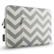 Runetz MacBook 12 inch Sleeve Neoprene Case for A1534 Retina Display, Release 2018 2017 2016 2015 Mac Laptop Bag Cover with Accessory Pocket, Chevron Gray
