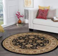 Tayse Raleigh Black 6 Foot Round Area Rug for Living, Bedroom, or Dining Room - Traditional, Floral