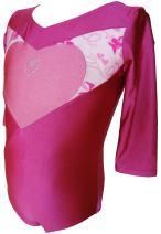Talent Tale Little Girls Print Block Pink Heart with Rhinestone 3/4 Sleeve Leotard