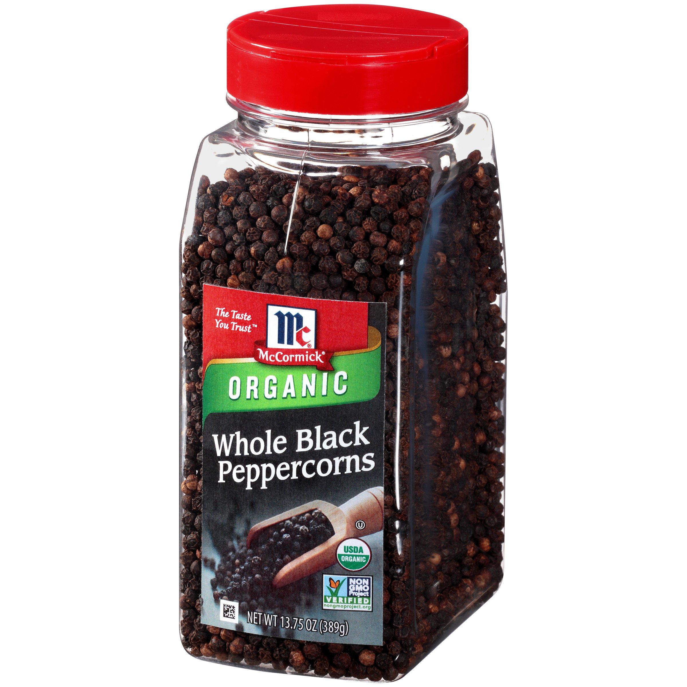 McCormick Whole Black Peppercorns (Organic, Non-GMO, Kosher), 14.7 oz