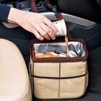 Creathing Car Trash Bag Hanging, 2 Gal | Waterproof Auto Garbage Can (Medium, Beige)