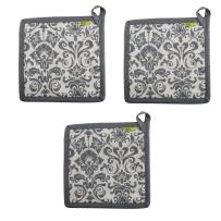 """Set of 3 Pot Holders, 100% Cotton of Size 8""""X8 Inch, Eco-Friendly & Safe, Blue Ornaments Design for Kitchen"""