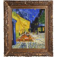 La Pastiche Cafe Terrace At Night Metallic Embellished Artwork By Vincent Van Gogh With Burgeon Gold Frame