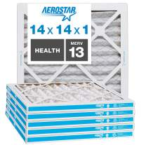 """Aerostar Home Max 14x14x1 MERV 13 Pleated Air Filter, Made in the USA, Captures Virus Particles, (Actual Size: 13 3/4""""x13 3/4""""x3/4""""), 6-Pack"""