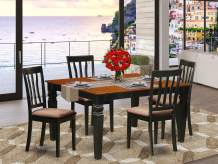 5 Pc Kitchen table set with a Dining Table and 4 Microfiber Kitchen Chairs in Black