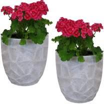 Sunnydaze Homestead Fiber Clay Planter Flower Pot, Durable Indoor/Outdoor 12-Inch Set of 2, Light Gray Carved Stone