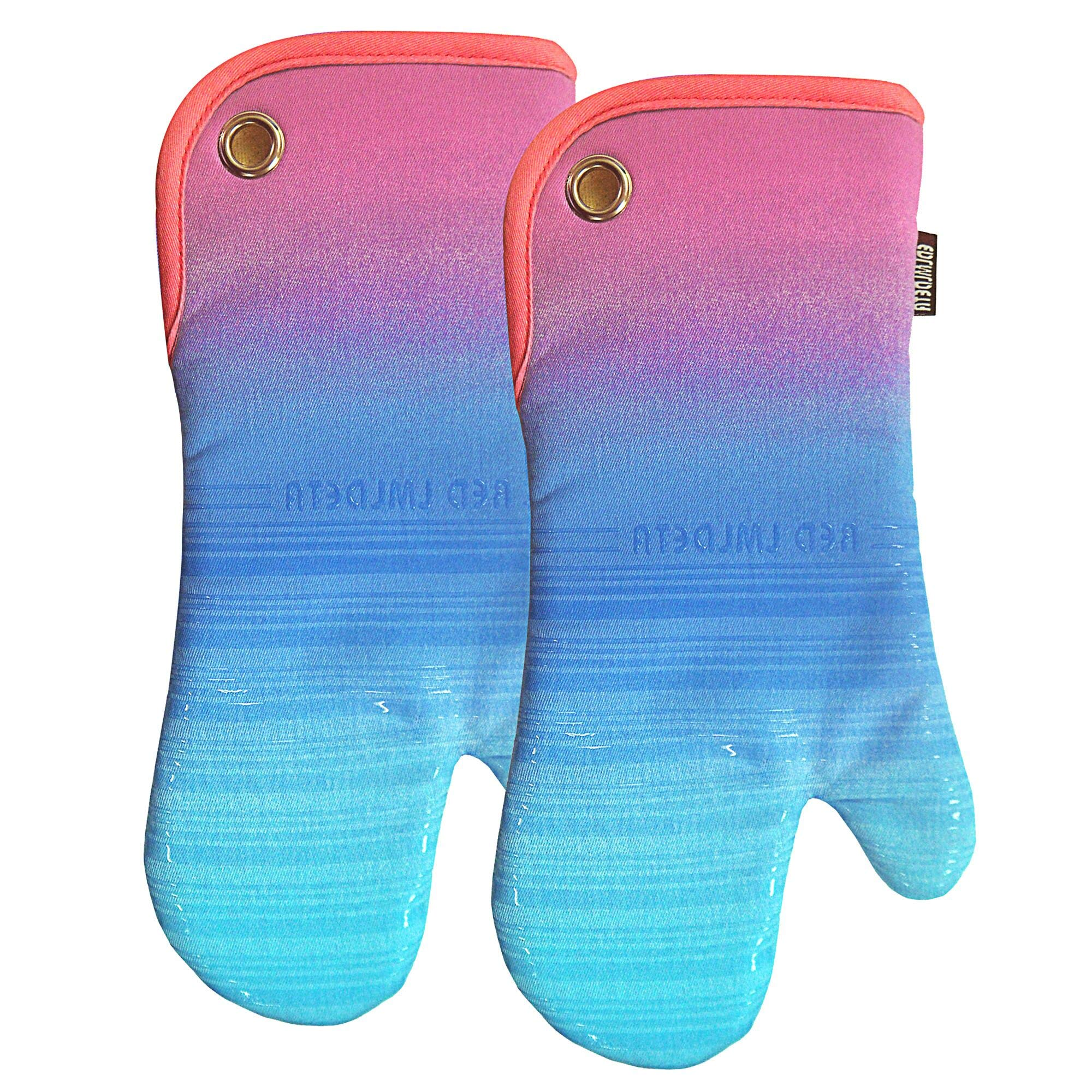 RED LMLDETA Transparent Stripe Silicone Oven Mitts/Gloves 1 Pair, Heat Resistant Non-Slip for Home Kitchen Cooking Barbecue Microwave for Women/Men Machine Washable BBQ (Gradual Purple)