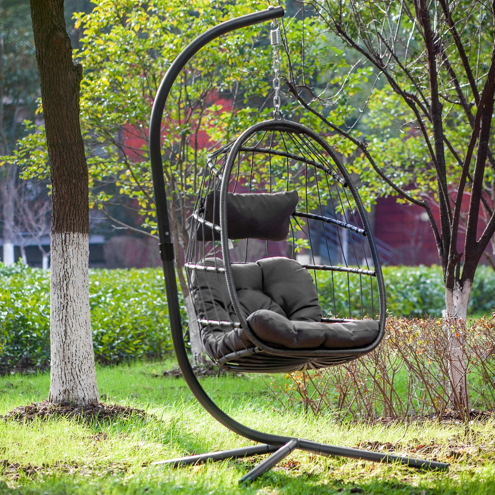 Egg Chair Aluminum Frame Swing Chair In Door Outdoor Hanging Egg Chair Patio Wicker Hanging Chair Hammock Chair With Stand And Uv Resistant Cushion 350 Pound Weight Capacity Dark Grey