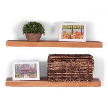 "DAKODA LOVE 24"" x 5.25"" Weathered Edge Solid Wood Floating Shelves | Premium Handmade Quality | Easy Hidden Bracket Wall Mount | Farmhouse Rustic Pine | Set of 2 (Autumn)"