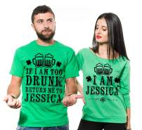 Personalized ST Patrick's Day Shirts Couple Matching Custom Name Shirts French Terry 3/4 Sleeve Top Green Party Shirts